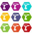 electric screwdriver drill icon set color vector image vector image