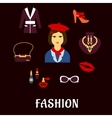 Fashion icons with accessories and jewelries vector image vector image