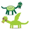 Funny green dragon on a white background vector image