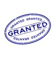 grunge blue granted word oval rubber seal stamp vector image vector image