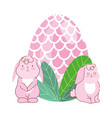 happy easter cute pink rabbits with egg foliage vector image