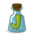 J in retro laboratory flask bottle Letter in old vector image vector image