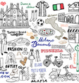 Milan Italy sketch elements Hand drawn set with