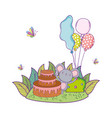 mouse with cake and balloons helium in the field vector image vector image