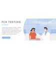 pcr testing at airport web banner template vector image vector image