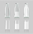 realistic transparent clear glass and bottle of vector image vector image