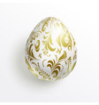 realistic white egg decorated with gold floral vector image