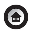 round black and white button icon - home vector image vector image