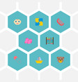 set of child icons flat style symbols with teddy vector image vector image