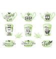 set vintage tea badges labels logos vector image vector image