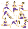 set women doing yoga poses vector image