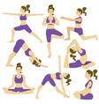 set women doing yoga poses vector image