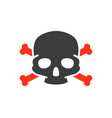 skull with crossbones colored icon warning of vector image vector image