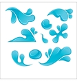 splash blue water drops set liquid icons vector image