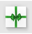 Square Gift Box with Shiny Green Bow and Ribbon vector image vector image