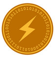 thunderbolt digital coin vector image vector image