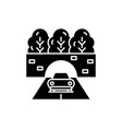 travelling by car black icon sign on vector image vector image
