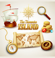 Treasure Island icons set vector image vector image