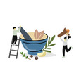 two people use mortar and pestle spice cooking vector image