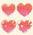 watercolor crystal hearts set on beige background vector image
