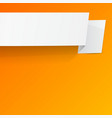 White sheet of paper on a orange background vector image