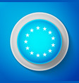 white stars in circle icon on blue background vector image