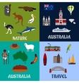 Australia flat travel symbols and icons vector image