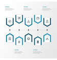 journey outline icons set collection of luggage vector image
