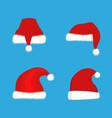 red santa claus hats set christmas vector image