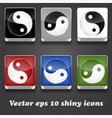 6 shiny icons with yin yang symbol vector image
