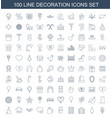 100 decoration icons vector image vector image