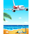 A beach with an airplane uphigh vector image vector image