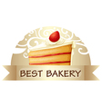 A best bakery label showing a slice of cake vector image vector image
