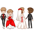 A front and back view of a married couple vector image