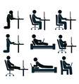 bad and good working position of the human at the vector image