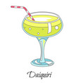 bar cocktail daiquiri drink with straw in glass vector image