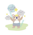 bashower cute bear with pants clous world vector image vector image