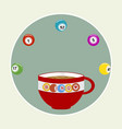 bingo coffee cup and balls in a border vector image vector image