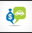 Car and dollar symbol in message bubble