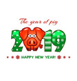 cartoon greeting banner in year pig vector image vector image