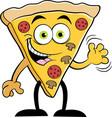 cartoon slice of pizza waving vector image vector image