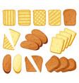 cartoon toasts breakfast toasted bread slices of vector image