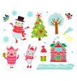 christmas animals set characters vector image vector image