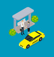 city public transport yellow taxi car 3d isometric vector image vector image