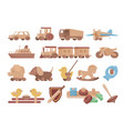 collection children s wooden toys flat vector image vector image