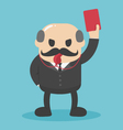 Concept Bald businessman hand showing red card vector image vector image