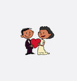 couple of newlyweds holding a heart between them vector image