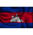 crumpled flag cambodia on a light background vector image vector image