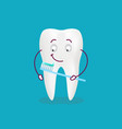 cute cartoon tooth with toothbrush and paste vector image vector image