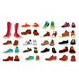 footwear set fashionable shoes boots vector image